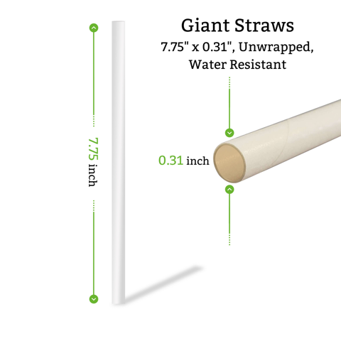 giant paper straws unwrapped, in cartons for smoothies, milkshakes