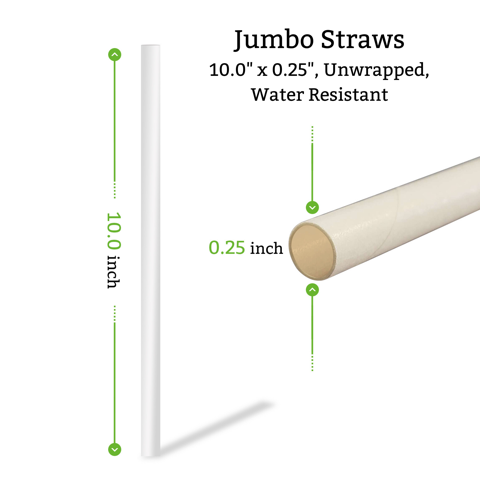 10 inch unwrapped paper straws in bulk for restaurants