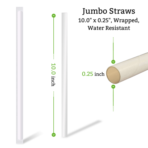 10 inch jumbo wrapped straw for restaurants